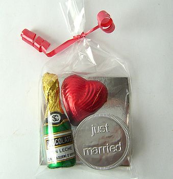 Chocolate Heart And Champagne Wedding Favour