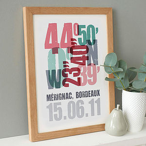 'Personalised Coordinate Print' - engagement gifts