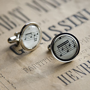 Music Score Sheet Cufflinks - men's jewellery