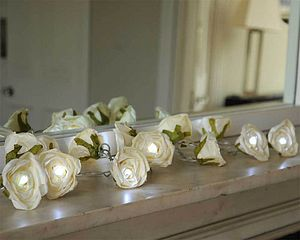 Cream Rose Garland Fairy Lights - fairy lights & string lights