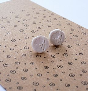 Sterling Silver And Porcelain Storm Cloud Earrings