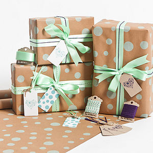 Recycled Mint Dotty Gift Wrap Set - ribbon & wrap