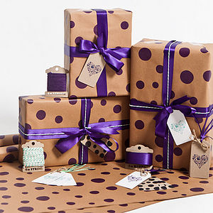 Recycled Violet Dotty Gift Wrap Set - ribbon & wrap