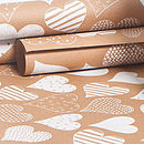 White Hearts Brown Wrapping Paper