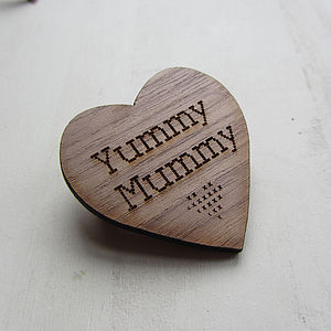 Wooden Heart Brooch - mother's day gifts
