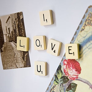 'I Love You' Vintage Letter Tile Magnets - kitchen