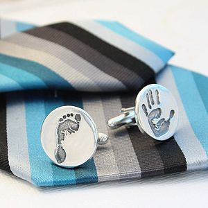 Handprint Footprint Round Silver Cufflinks - first father's day