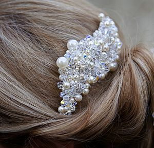 Hair Comb Made With Swarovski Crystal And Pearl - head pieces