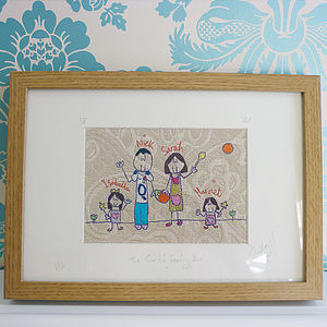 Personalised Family Embroidery Picture - gifts from younger children