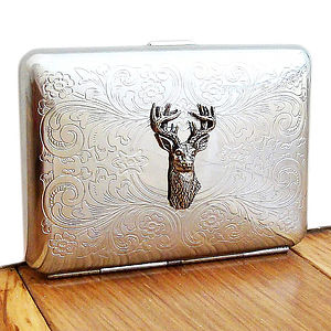 Stag Cigarette Case Or Silver Card Case - albums & keepsakes