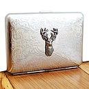 Stag Cigarette Case Or Silver Card Case