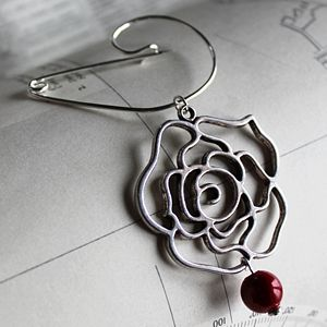 Swirl Pin With Absract Rose - pins & brooches