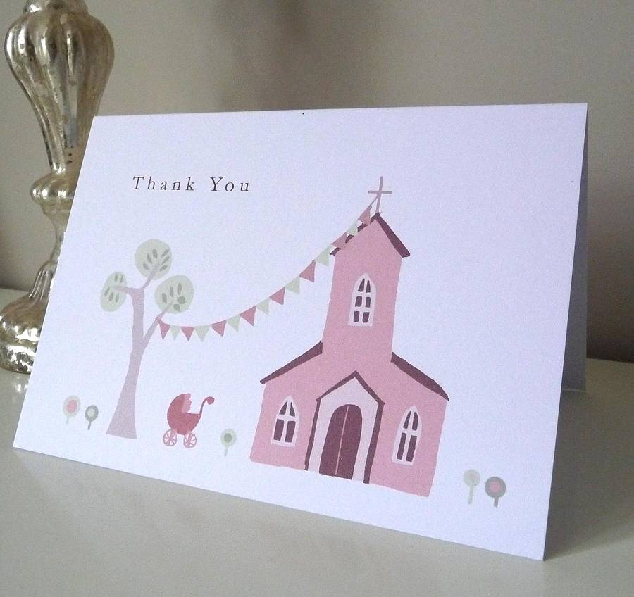 Personalised Christening Thank You Card By Molly Moo Designs