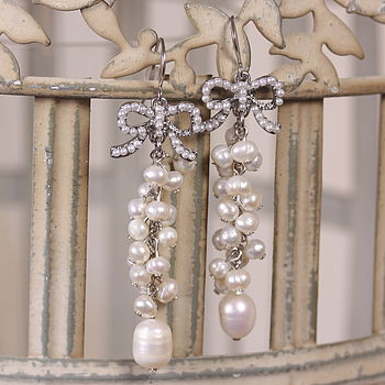 Freshwater Pearl Cluster Drop Earrings