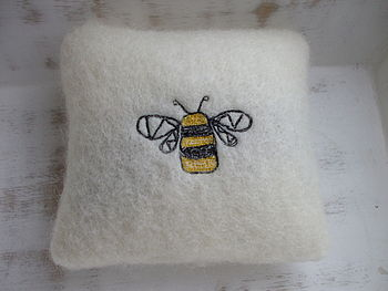 Embroidered Bee Lavender Mini Cushion