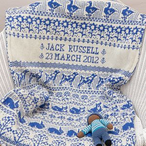 Personalised Knitted Animals Baby Blanket - baby's room