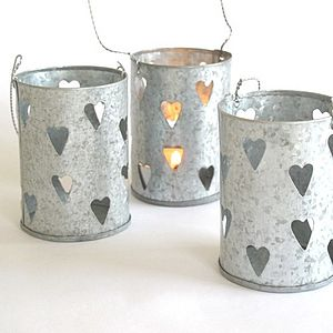 Set Of Three Zinc Heart Tea Light Holders - table decorations