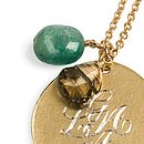 Engraved 18ct gold-vermeil medal with emerald drop, smokey quartz.