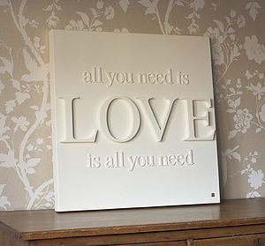 Personalised 'All You Need Is Love' Canvas - wedding gifts