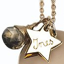 Engraved gold plated star and smokey quartz details