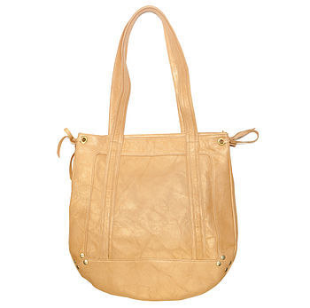 Harper Leather Shoulder Bag: Gold