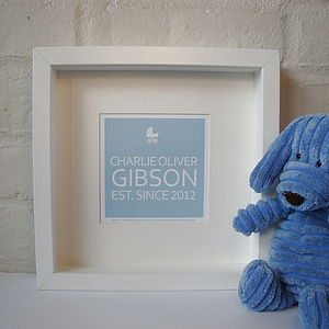 Personalised Baby Name Framed Print - keepsakes