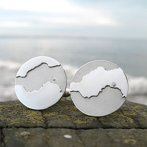 Personalised Diamond Coastline Cufflinks - wedding jewellery