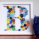 Framed Child's Alphabet Button Artwork
