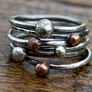 Handmade organic copper and silver stacking rings - antiqued
