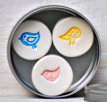 Set Of Three Ceramic Bird Magnets