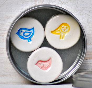Set Of Three Ceramic Bird Magnets