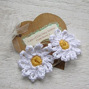 Hand Crocheted Flower Hair Ties - wedding thank you gifts
