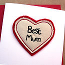 Best Mum Embroidered Mother's Day Card