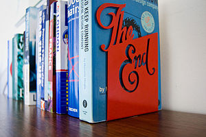 'The End' Bookend - book-lover