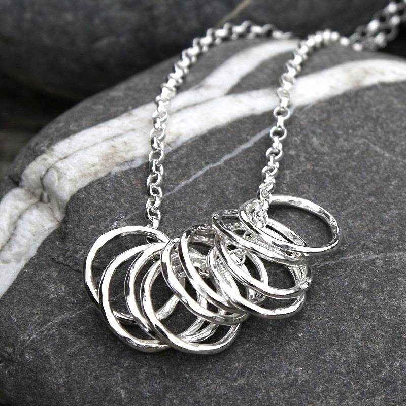 10 Silver Hoops Necklace