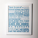 'Rules To Live By' Inspirational Graduation Print