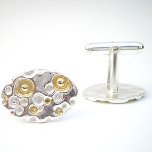 Coral Silver And Gold Cufflinks - cufflinks