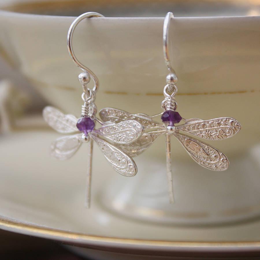 Sterling Silver Dragonfly Earrings Amethyst