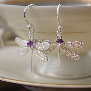 Dragonfly Earrings In Sterling Silver - earrings