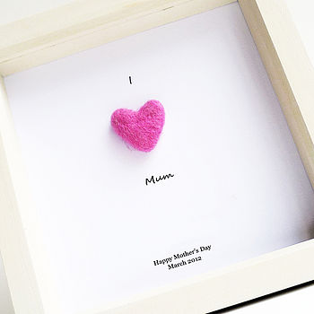 Framed Personalised Handmade 3D Felt Heart