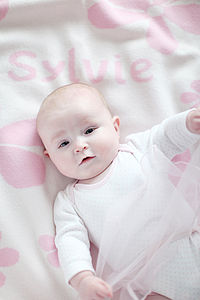 Personalised Girl's Lambswool Baby Blanket - bed linen & cot bedding