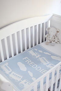 Personalised Boy's Lambswool Baby Blanket - blankets, comforters & throws