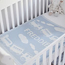 Personalised boys lambswool baby blanket