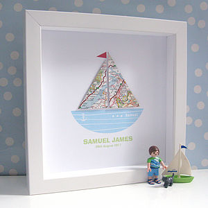 Personalised Baby Boy Map Boat Artwork - mixed media pictures