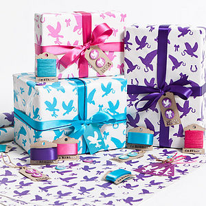 Recycled Love Birds Gift Wrap Set - ribbon & wrap