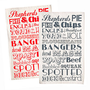 English Dinner Typographic Tea Towel - kitchen accessories