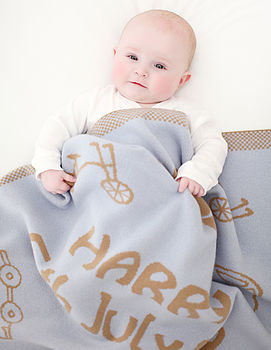 Personalised cashmere blanket blue and camel