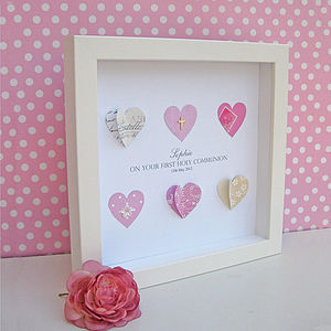 Personalised First Holy Communion Six Hearts Artwork