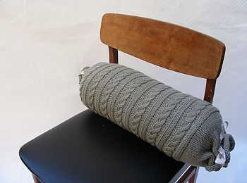 Hand Knit Cable Bolster In Grey