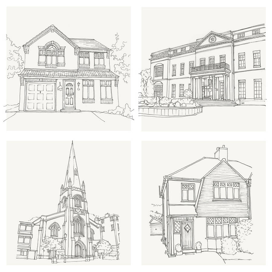 Bespoke House And Venue Sketched Illustration